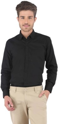 Aries Men's Solid Formal Black Shirt