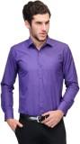 Qpark Men's Solid Formal Purple Shirt