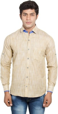Nauhwar Men's Solid Formal Linen Yellow Shirt