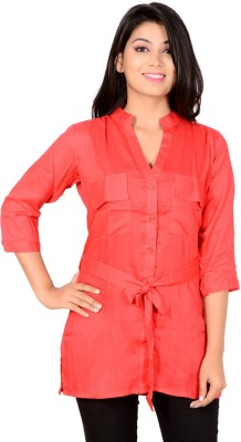 Jazzy Ben Women's Solid Casual Red Shirt
