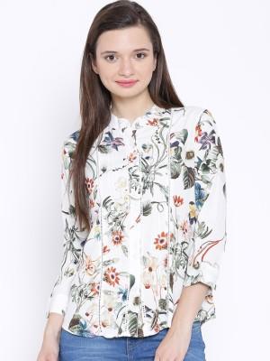 Oner Women,s Printed Casual White Shirt