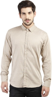 Marcello And Ferri Men's Printed Casual Gold Shirt