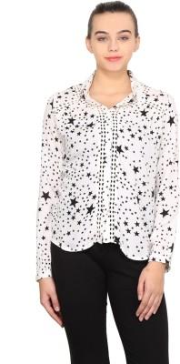 Nordic Bazaar Women's Printed Casual White, Black Shirt