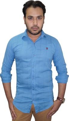 Ali Darzi Men's Checkered Casual Light Blue Shirt