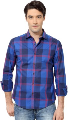 Peter England Men's Checkered Casual Dark Blue Shirt