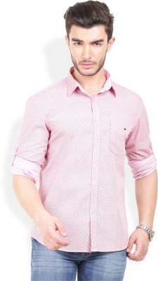 Bay Ridge Men's Printed Casual Pink Shirt