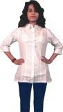 Miraaya Women's Solid Formal White Shirt