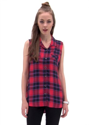 Raindrops Women's Checkered Casual Red, Blue Shirt