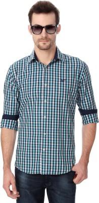 University of Oxford Men's Checkered Casual Dark Blue Shirt