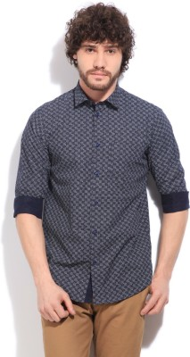 Arrow New York Men's Printed Casual White, Black Shirt