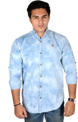 Yomaa Men's Solid Casual Denim Blue Shirt