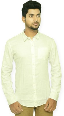 Indian Legacy Men's Solid Casual White Shirt