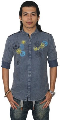 Fisheye Men's Printed Casual Blue Shirt