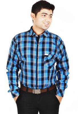 Hd Rascals Men's Checkered Casual Blue Shirt