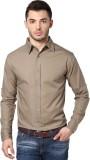 PUNK Men's Solid Casual Beige Shirt
