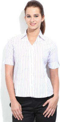 STYLE QUOTIENT BY NOI Women's Striped Formal White, Purple Shirt
