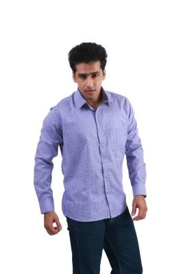Frissk Men's Checkered Formal Purple, Blue Shirt