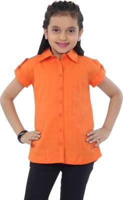Catmini Girl's Checkered Casual Orange Shirt