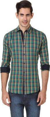 Smithsoul Men's Checkered Casual Green, Blue Shirt