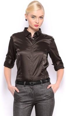 Mast & Harbour Women's Printed Casual Brown Shirt