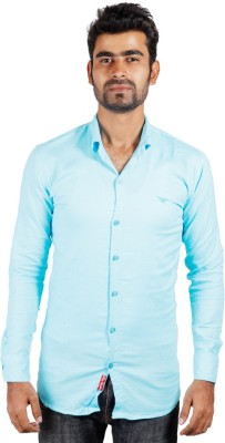 Alley Brothers Men's Solid Casual Blue, Light Blue Shirt