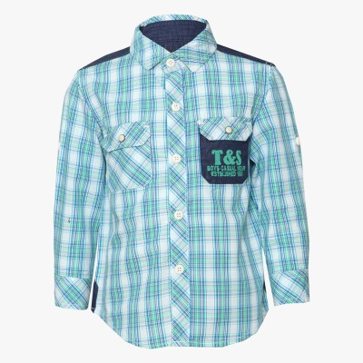 Tales & Stories Boy's Checkered Casual Green Shirt
