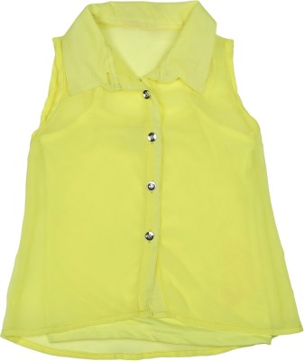 Addyvero Girl's Solid Casual Yellow Shirt