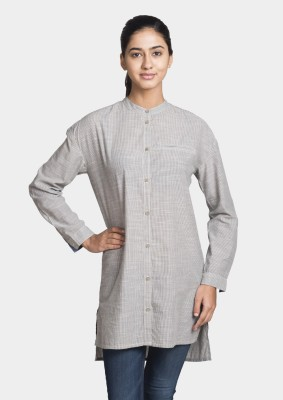 Bhane Women's Striped Casual Grey Shirt