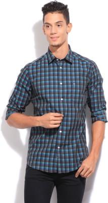Arrow Sport Men's Checkered Casual Blue, Brown Shirt