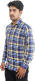 Oshano Men's Checkered Casual Dark Blue ...