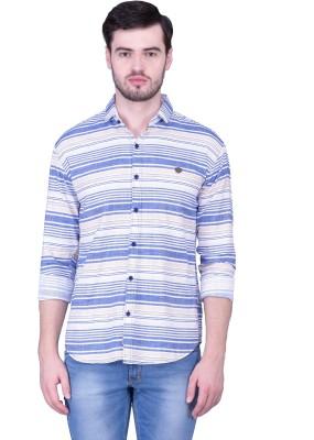 THE SHIRT FACTORY Men's Printed Casual Blue, White Shirt