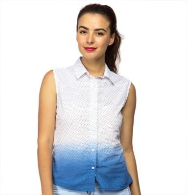 American Swan Women's Printed Casual White, Blue Shirt