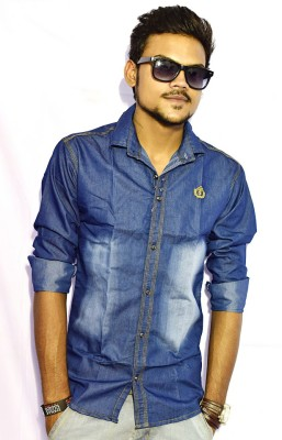 Sharp Fashion Men's Self Design Casual Denim Blue Shirt