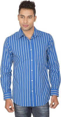 SmartCasuals Men's Striped Casual Blue Shirt