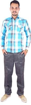 Shahanshah Enterprises Men's Checkered Casual Blue Shirt