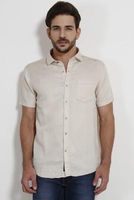 SIN Men's Solid Casual Beige Shirt