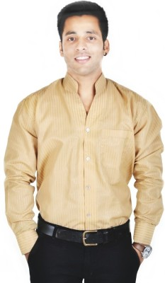 Spaky Men's Self Design Casual Brown Shirt