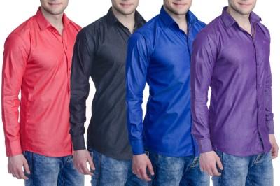 Aligatorr Men's Solid Formal Blue, Purple, Red, Black Shirt