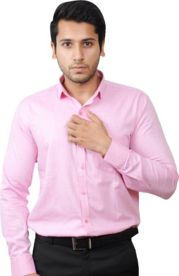Flakes Fashion Men's Solid Casual Pink Shirt