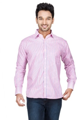 Vidyuth Traders Men's Striped Formal Pink Shirt