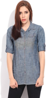 LAWMAN Women's Solid Casual Blue Shirt
