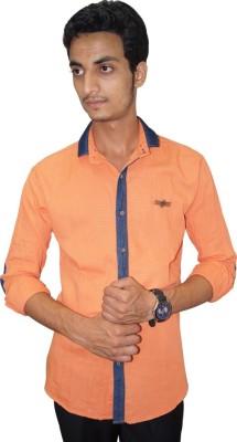 Ali Darzi Men's Solid Casual Orange Shirt