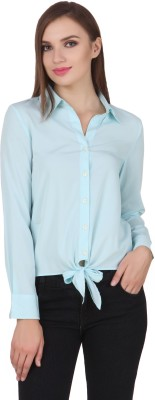One Femme Women's Solid Formal, Party Light Blue Shirt