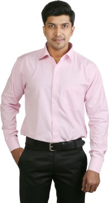 Basil Men's Solid Formal Pink Shirt