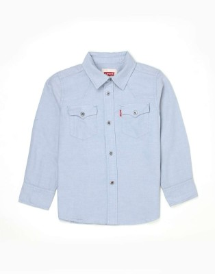 Levis Kids Boys Solid Casual Blue Shirt