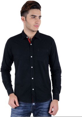 RA Men's Solid Casual, Party Black Shirt