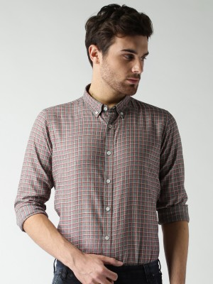 Mast & Harbour Men's Checkered Casual Grey Shirt