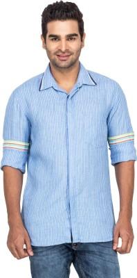 Laven Men's Striped Casual Linen Blue Shirt