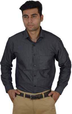 Studio Nexx Men's Striped Formal Black Shirt