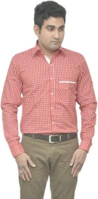 Benzoni Men's Checkered Casual Red, White Shirt
